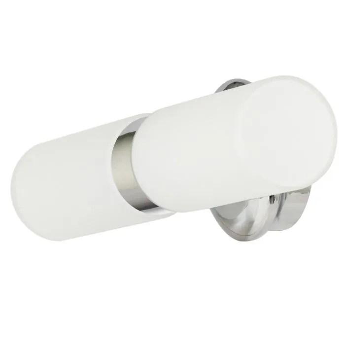 Double applique salle de bain verre opal et chrome  Achat  Vente Double applique salle de bain
