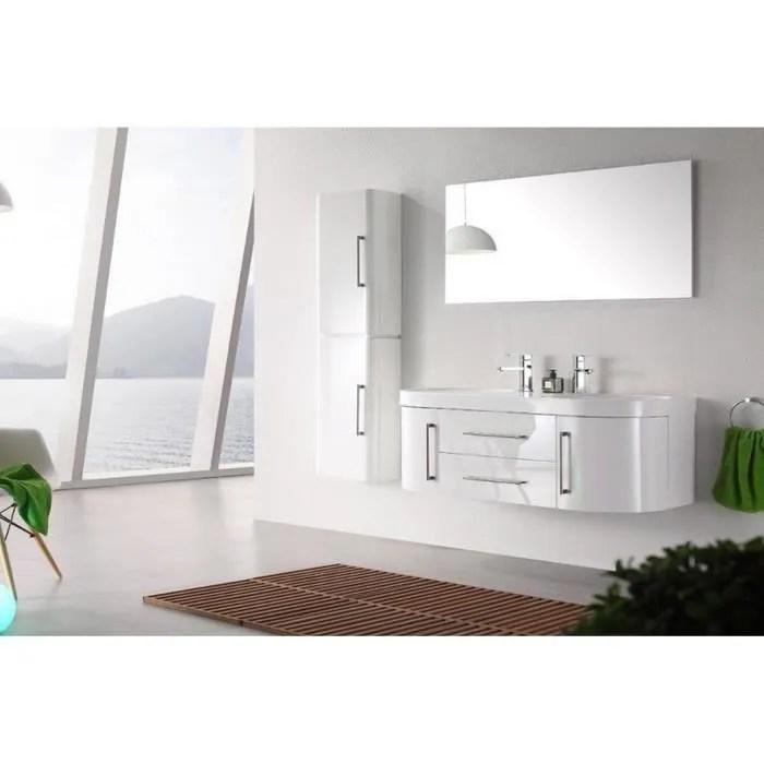 Meuble Salle De Bain Vasques Blanc Laque Brillant Cm Mia Blanc