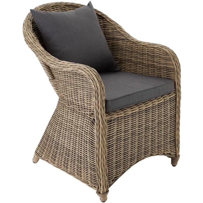 Chaise Fauteuil de jardin de salon en Rsine Tresse Poly Rotin Aluminium avec Coussin 71 cm x
