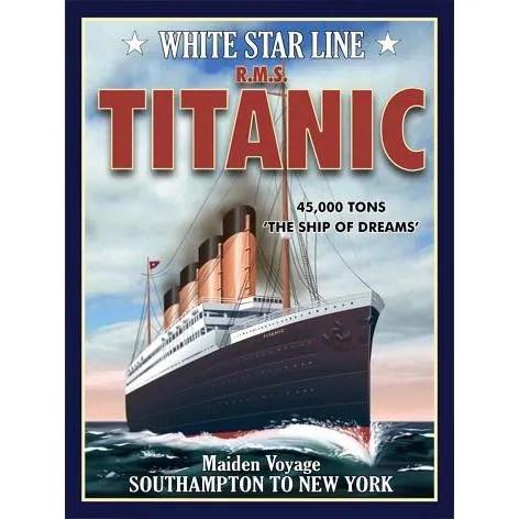 PLAQUE METAL 40X30cm BATEAU STAR RMS TITANIC Achat