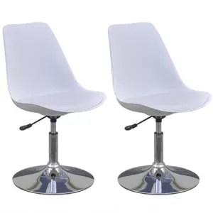chaise 2pcs chaises de cuisine pivotantes blanc reglables