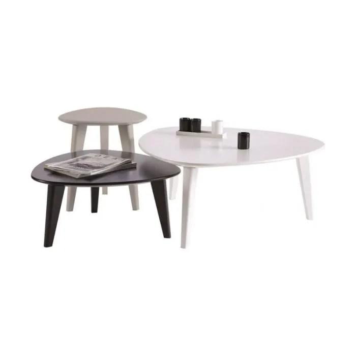 table basse ensemble 3 tables basses noir et blanc stone