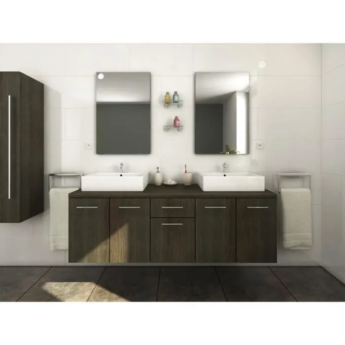 olga ensemble salle de bain double vasque l 150 cm decor wenge luisiana