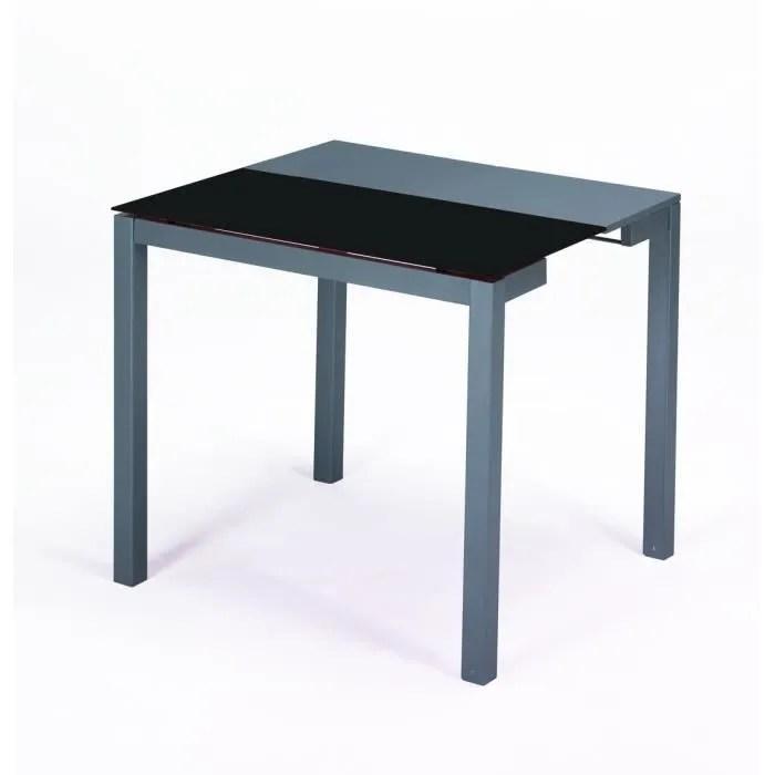 table extensible largeur 45 a 80 cm avec extension noir 8mm plateau en verre trempe gris mdf les pieds ont des roues sont au bas