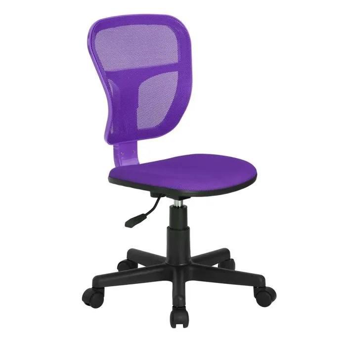 chaise d ordinateur avec accoudoirs chaise de bureau en plastique a maillons reglables et pivotants violet
