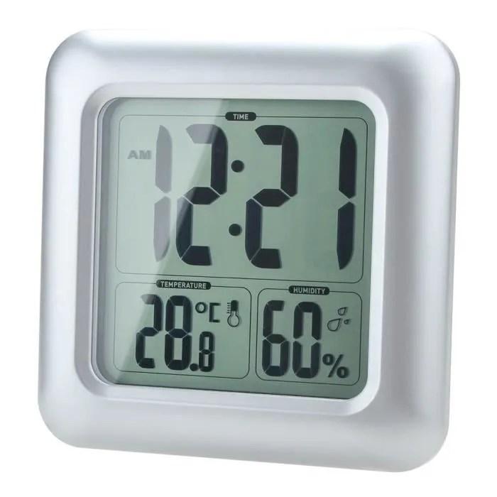 Humidit LCD rsistant douche horloge salle de bain cuisine murale horloge temprature de leau