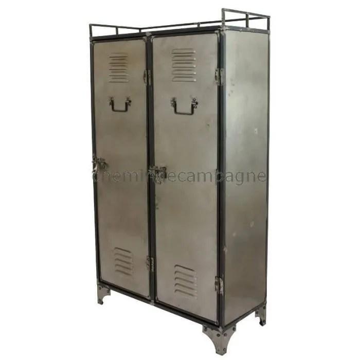 armoire bahut buffet bibliotheque meuble industriel fer metal 75 cm gris