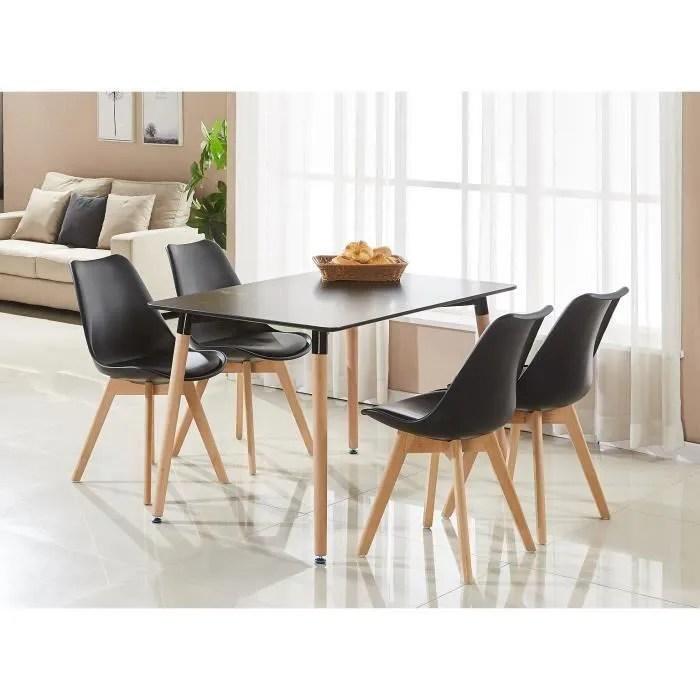 ensemble table de salle a manger complet table noire 4 chaises de couleur noires design scandinave cuisine salon bureau