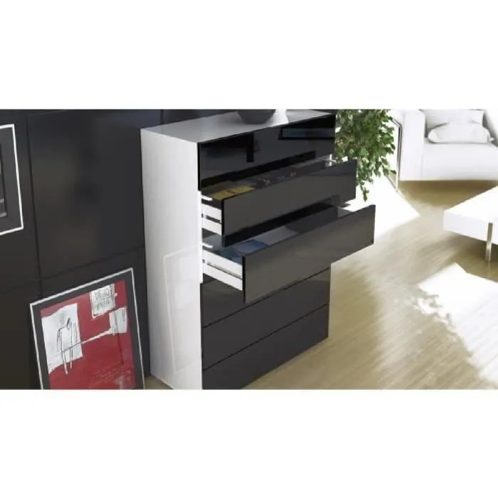 Commode blanc et noir avec 6 tiroirs 106cm  Achat  Vente commode de chambre Commode blanc et