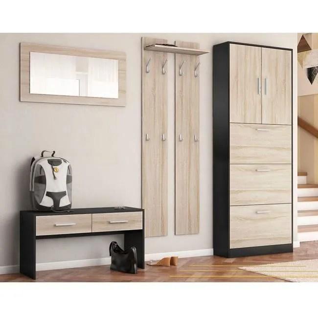 meuble d entree ensemble de meubles d rsquo entree noir bois brut