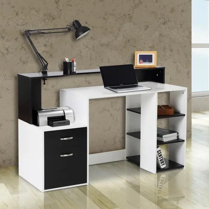 bureau informatique multimedia design multi rangements 140 l x 55 l x 92 h cm noir et blanc 26
