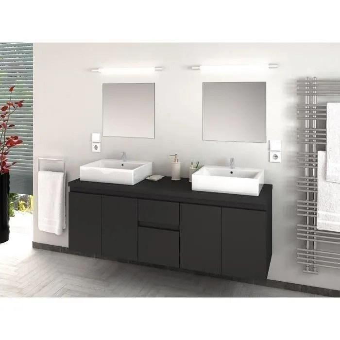 cina ensemble salle de bain double vasque l 150 cm gris laque mat