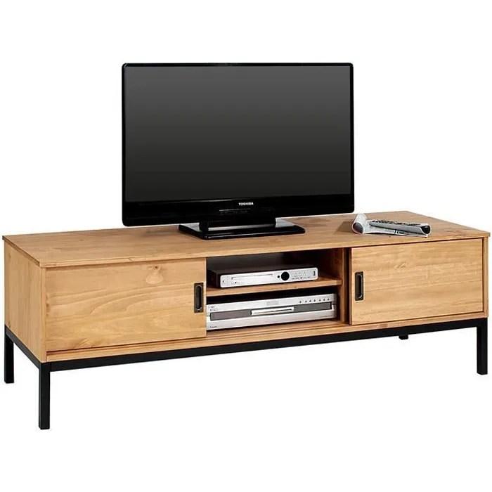 meuble tv selma banc tele de 145 cm au style industriel design vintage avec 2 portes coulissantes en pin massif lasure brun clair