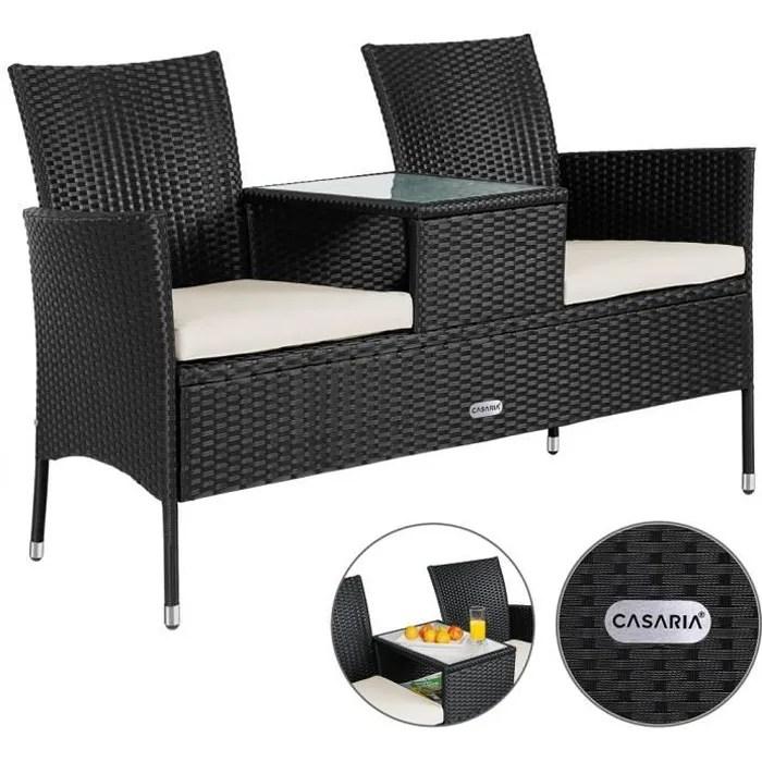 banc de jardin polyrotin 2 places avec table integree et coussins amovibles banc exterieur resistant aux intemperies