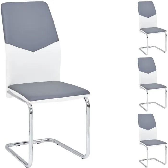 lot de 4 chaises de salle a manger leona pietement chrome revetement synthetique blanc et gris