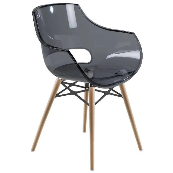 chaise stokholm transparente pieds bois lot de 2 chaise