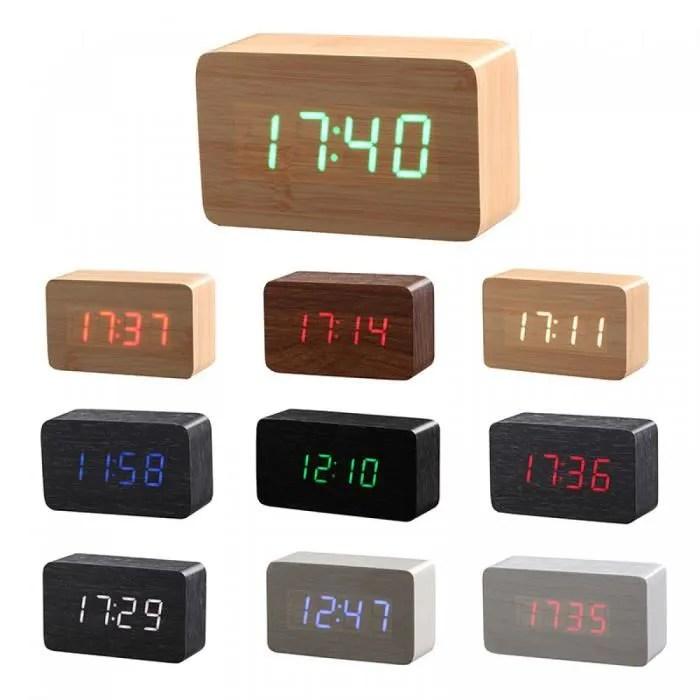 Bois Bambou Led Rveil Reloj Despertador Moderne