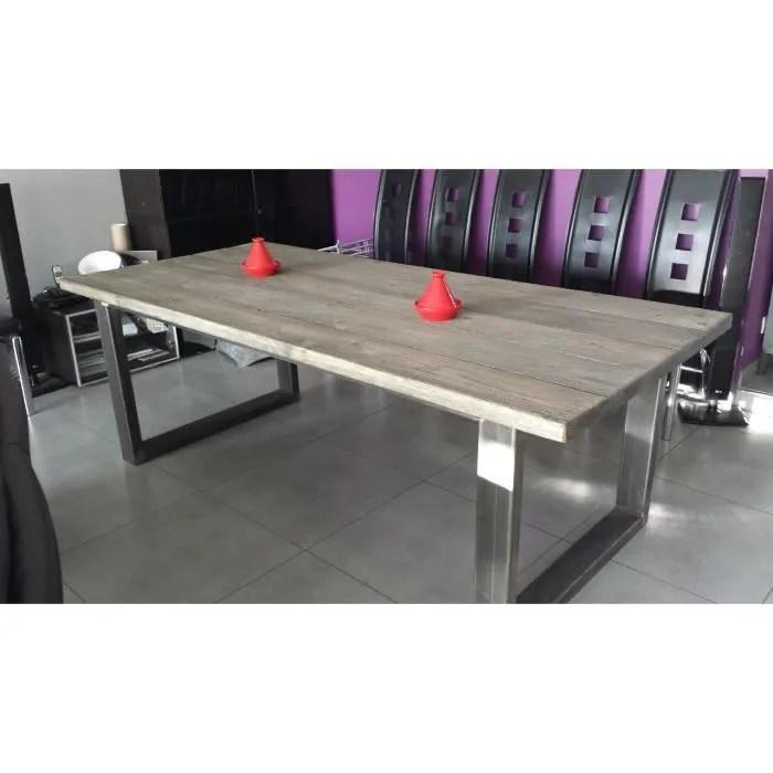 Table De Salle Manger Industriel Acier Et Bois Achat