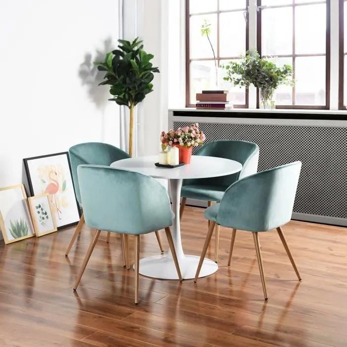 homy casa lot de 4 chaises de salle a manger en velours chaises de salon avec accoudoir pieds en metal aqua