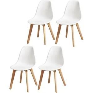 chaise sacha lot de 4 chaises de salle a manger blanc p