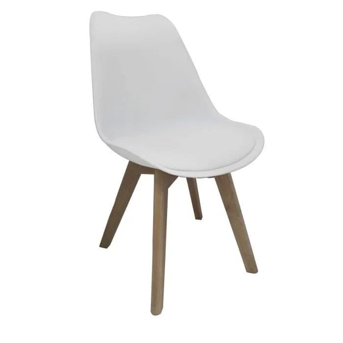 bjorn chaise coque pvc blanc pieds bois naturel achat - Chaise Coque