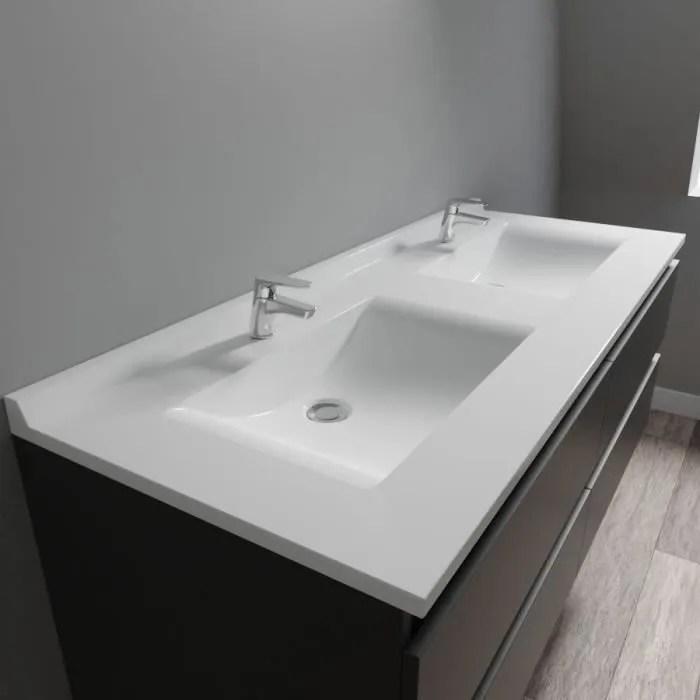 CREAZUR Plan double vasque Blanc 140cm  Achat  Vente lavabo  vasque Plan double vasque