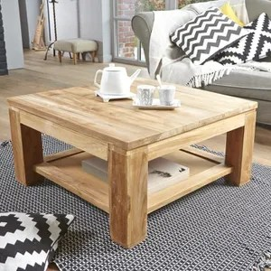 Table Basse Jardin Table Basse Carree En Teck Brut Qualite Grade A