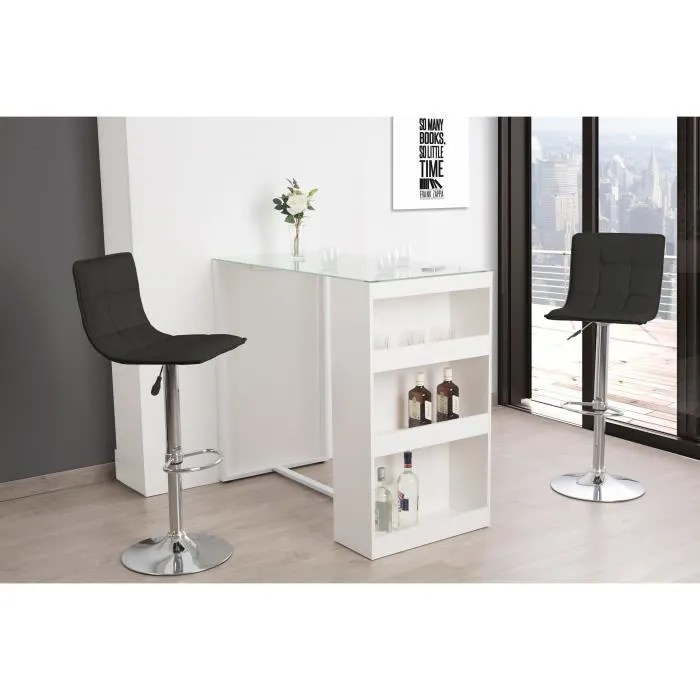 Table Bar 2 Personnes Contemporain Blanc  L 120 Cm