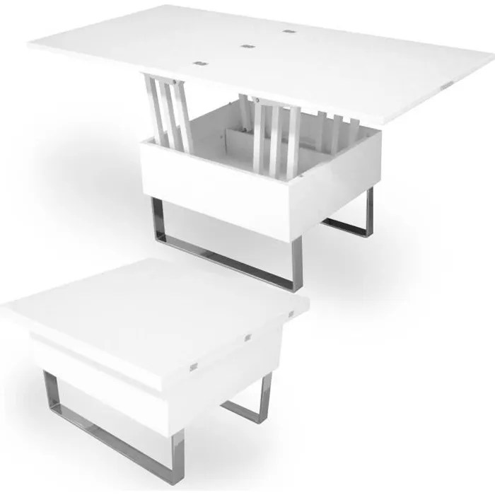 table basse relevable multifonction woods laquee blanche