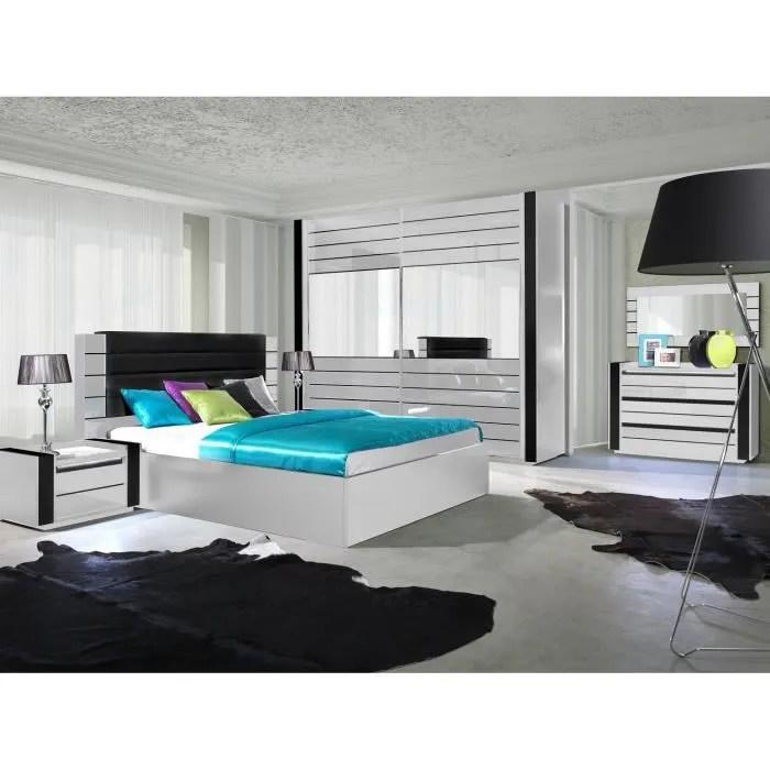 ensemble design pour chambre a coucher lina blanc lit 2 chevets avec led commode avec led