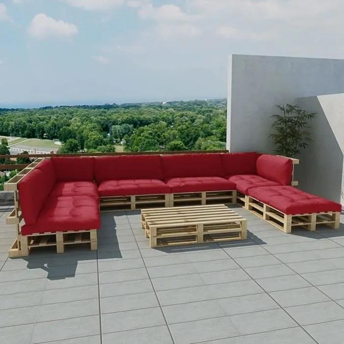 meuble de jardin 21 pcs bois avec 13 coussins bordeaux rouge