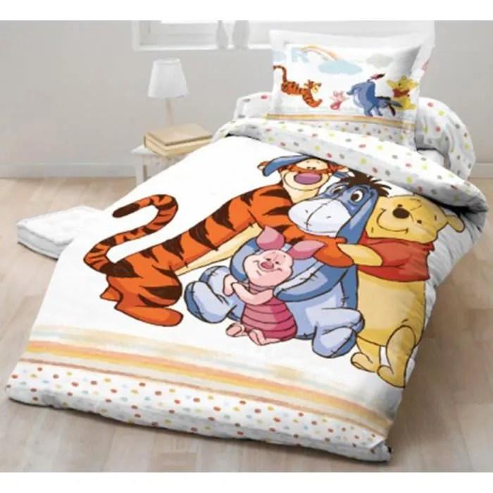Parure de lit Winnie Lourson Disney 100 coton  Achat  Vente housse de couette et taies