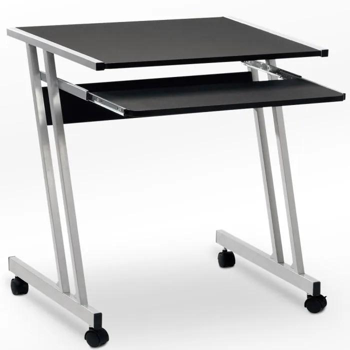 bureau informatique meuble pc ordinateur table tiroir rangement noir roulettes