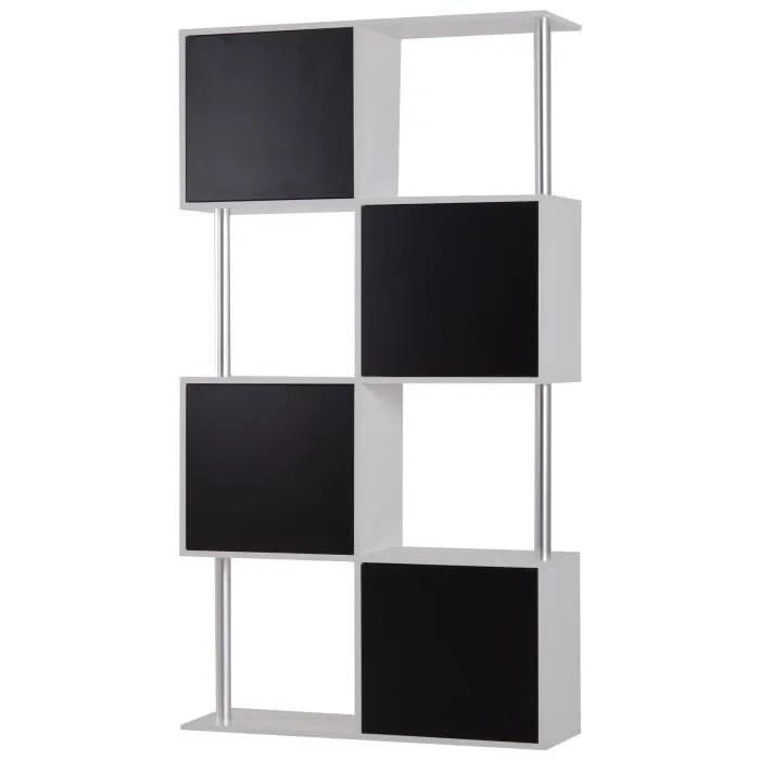 bibliotheque etagere meuble de rangement design contemporain graphique 4 etageres 4 placards portes 90l x 29l x 164h cm noir