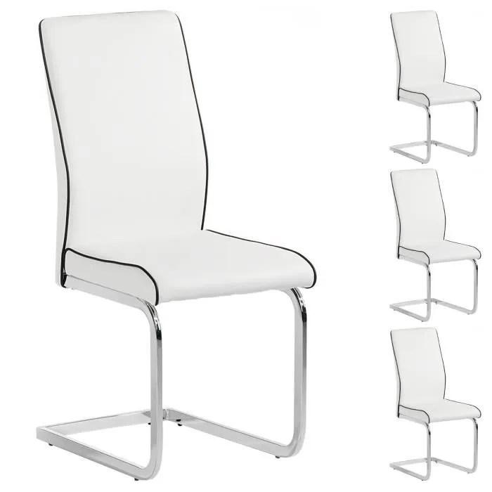 chaise lot de 4 chaises jimena blanc