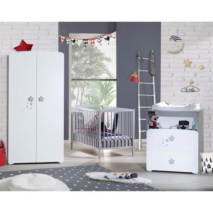BABY PRICE New Nao Chambre Bb Complte  Lit Barreaux 60x120 cm  Armoire  Commode  Langer