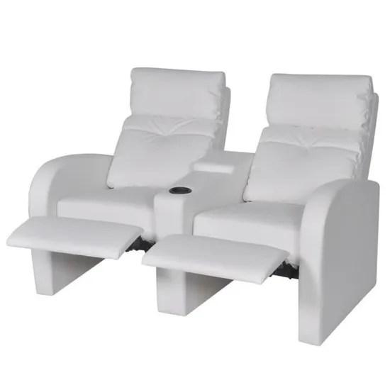 canape inclinable 2 places moderne en cuir artificiel avec dossier reglable et repose pieds etendu blanc cinema maison bureau salon achat vente canape