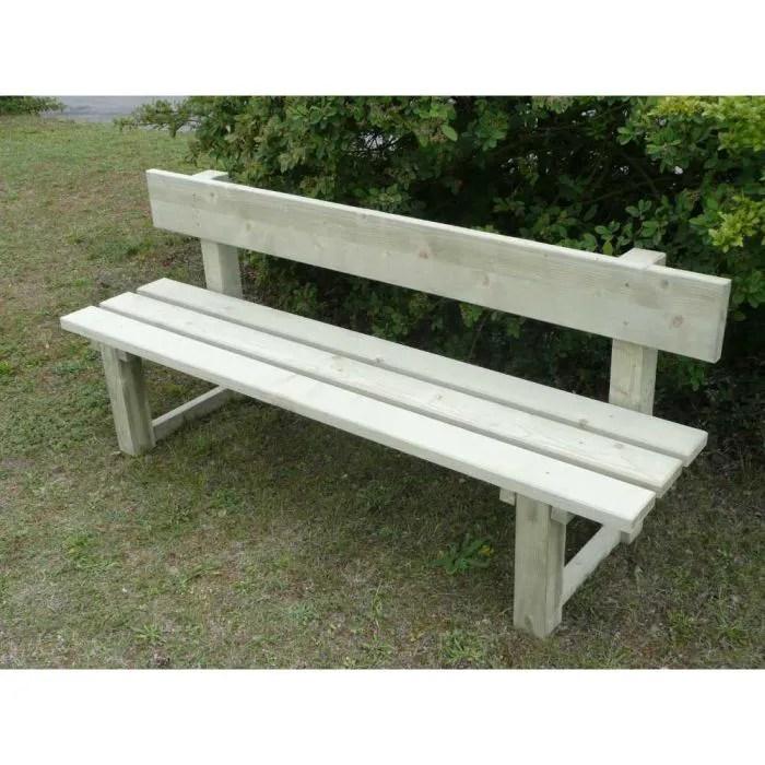 Banc de jardin avec dossier en bois trait auto  Achat  Vente fauteuil jardin Banc de jardin