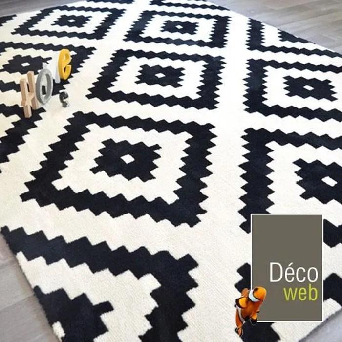 tapis graphique noir et blanc 200 x 290 cm