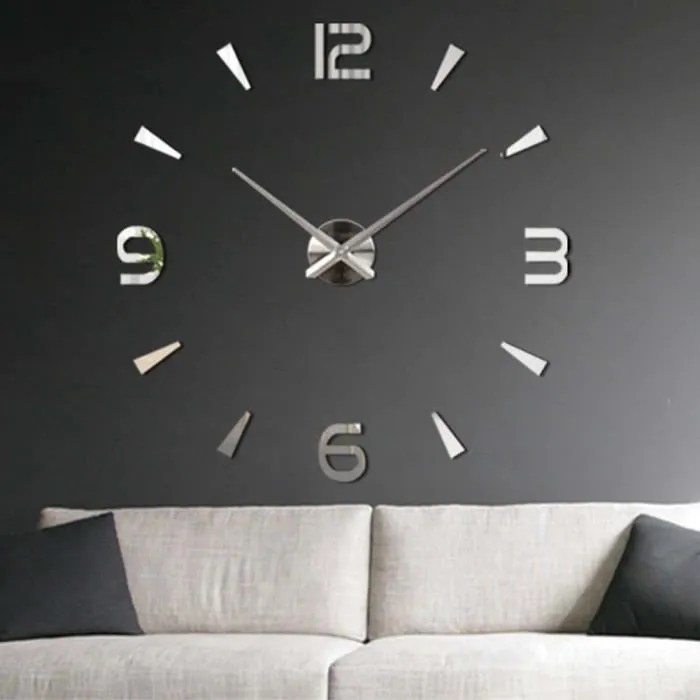 getek 3d grande horloge murale surface miroir decoration autocollant bureau a domicile bricolage argent