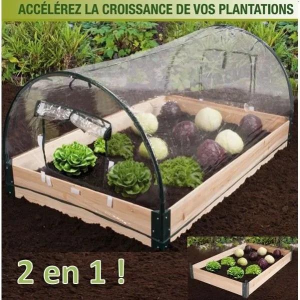 Mini serre de jardin avec chassis bois  housse  Achat