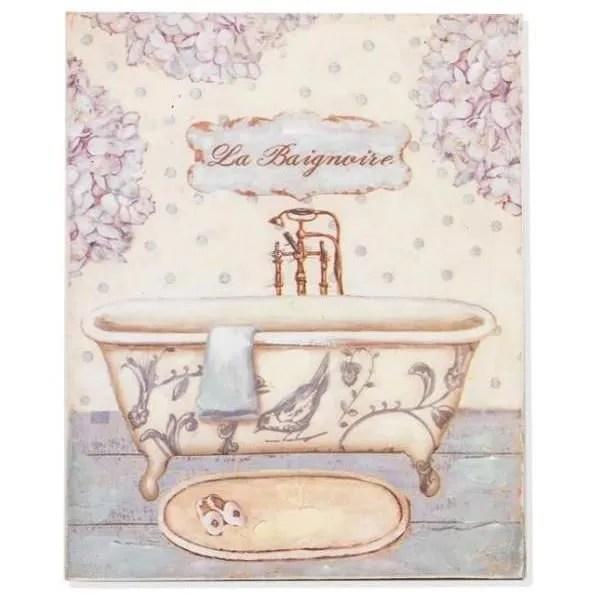Tableau  cadre bois Baignoire  Salle de bain  Achat  Vente tableau  toile  Soldes ds le