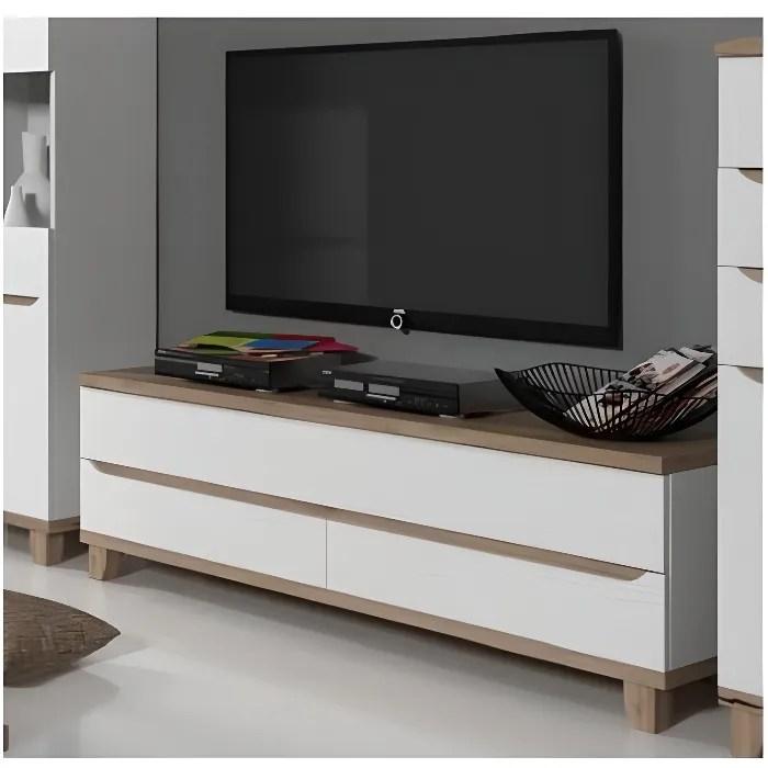 meuble tv scandinave lier blanc et bois