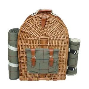panier pique nique personne vert tweed amenagee picnic back pack