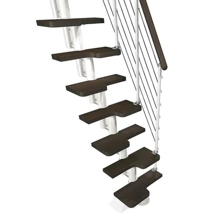escalier gain de place kya de chez fontanot largeur 57cm hauter 231 280cm 11 marches 12 hauteurs blanc foncee