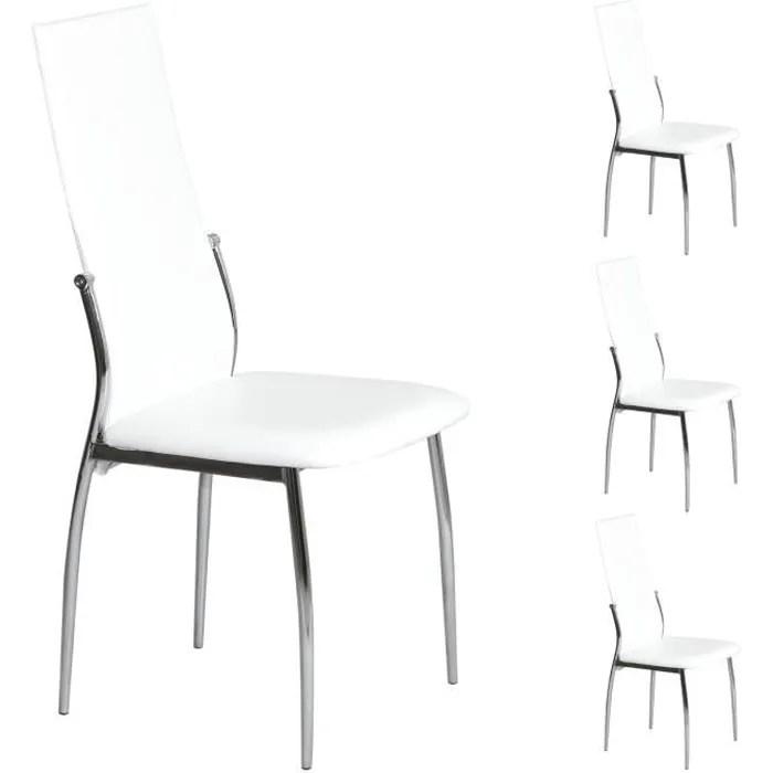 idimex lot de 4 chaises de salle a manger leona pietement chrome revetement synthetique bicolore blanc