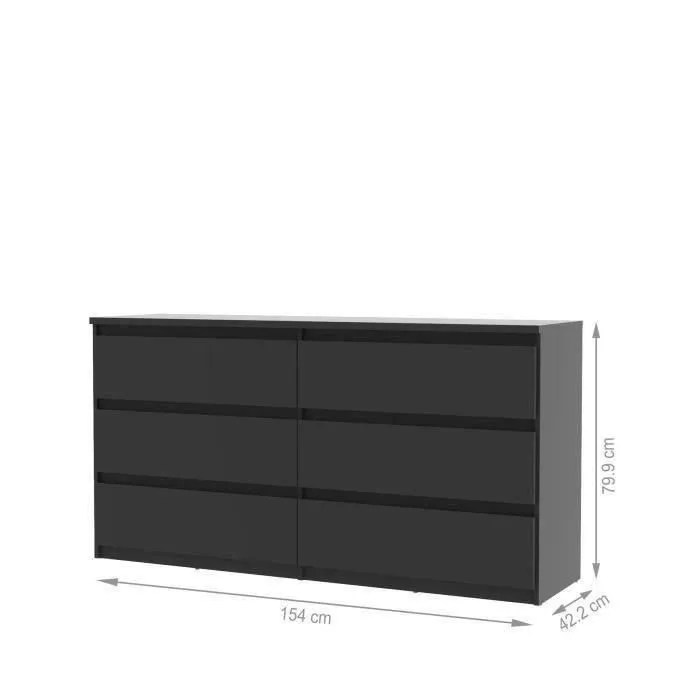 FINLANDEK Commode NATTI 154cm noir  Achat  Vente commode de chambre FINLANDEK Commode noire