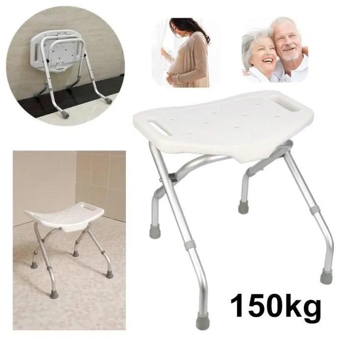 siege de douche pliable tabouret de baignoire de salle de bain reglable en hauteur poids maximal 80kg en aluminium blanc