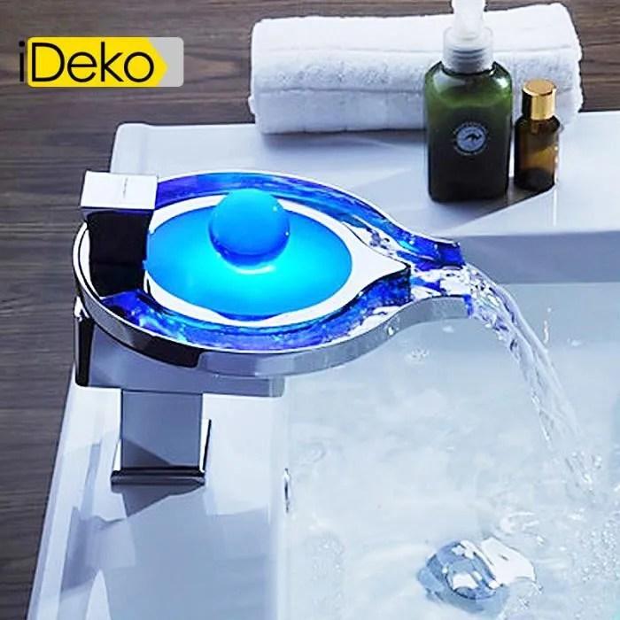 IDekoRobinet Mitigeur lavabo cascade LED  Flexible  Achat  Vente robinetterie sdb iDeko
