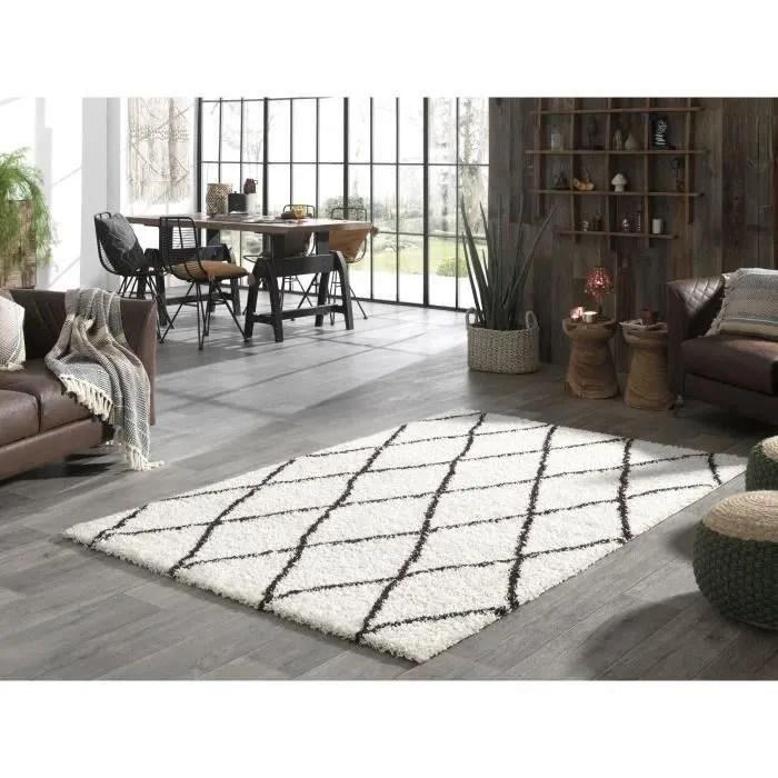 asma tapis de salon shaggy style berbere 120x160 cm creme et marron poils longs